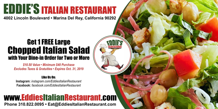 Eddie's Italian Restaurant: Get Free Chopped Italian Salad your Dine-In Order for Two