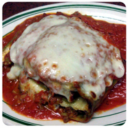 Lasagna at Eddie's Italian Restaurant Test